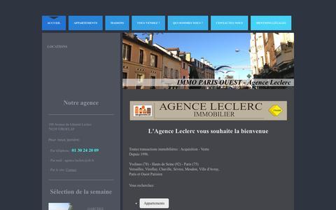 Screenshot of Home Page agence-leclerc.fr - Bienvenue sur le site de Agence Leclerc Immobilier - captured Oct. 16, 2015