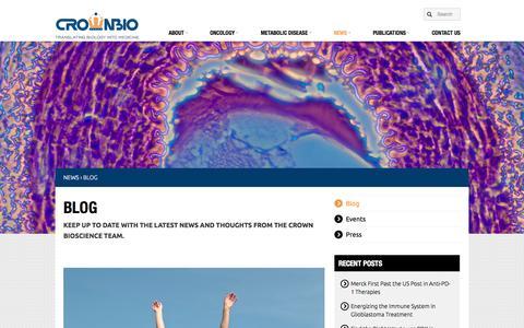 Screenshot of Blog crownbio.com - Blog - Crown BioScience - captured Sept. 13, 2014