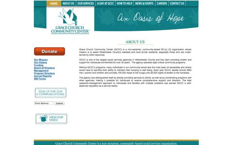 Screenshot of About Page gracecommunitycenter.org - Welcome to Grace Church Community Center, Oasis of Hope : Welcome Home - captured Oct. 3, 2014
