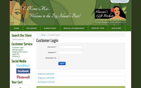 Screenshot of Login Page hawaiisgiftbaskets.com - Customer Login - Hawaiis Gift Baskets - captured May 15, 2017