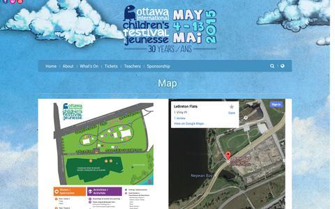 Screenshot of Maps & Directions Page ottawachildrensfestival.ca - Ottawa International Children's Festival | Map - captured Oct. 26, 2014
