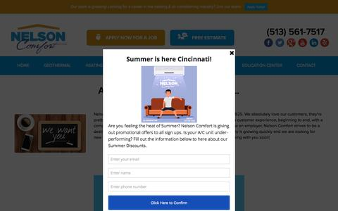 Screenshot of Jobs Page nelsoncomfort.com - Cincinnati HVAC Job Opportunities | Nelson Comfort - captured June 30, 2018