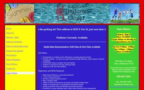 Screenshot of Jobs Page uniformcloset.com - KRUC-Online Job Application - captured June 18, 2016