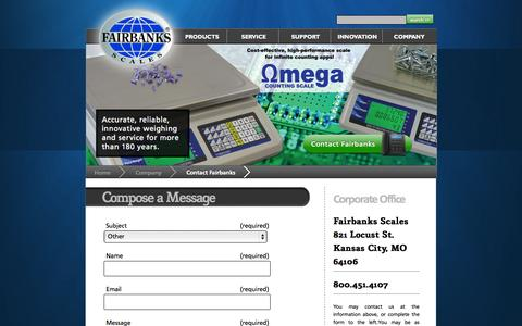 Screenshot of Contact Page fairbanks.com - Contact Fairbanks - captured Sept. 22, 2014