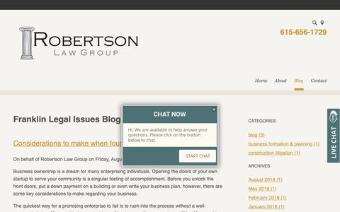 Screenshot of Blog robertsonlg.com - Franklin Legal Issues Blog | Robertson law Group - captured Oct. 18, 2018