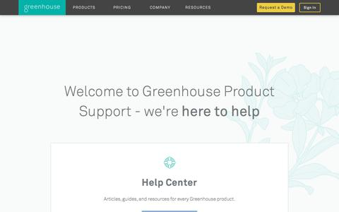 Screenshot of Support Page greenhouse.io - Recruiting Software & Applicant Tracking System | Greenhouse - captured Feb. 28, 2018