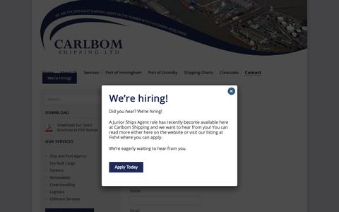 Screenshot of Contact Page carlbom.co.uk - Contact Us - Carlbom Shipping Ltd - captured Sept. 27, 2018