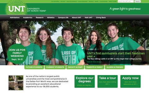 Screenshot of Home Page unt.edu - UNT   University of North Texas - captured Sept. 18, 2014