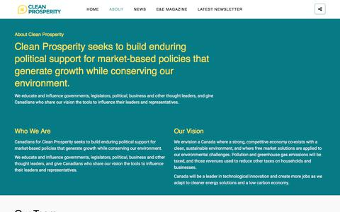 Screenshot of About Page cleanprosperity.ca - About – Canadians for Clean Prosperity - captured July 14, 2017