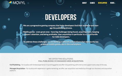Screenshot of Developers Page movyl.co - Developers — Movyl - captured Feb. 16, 2016