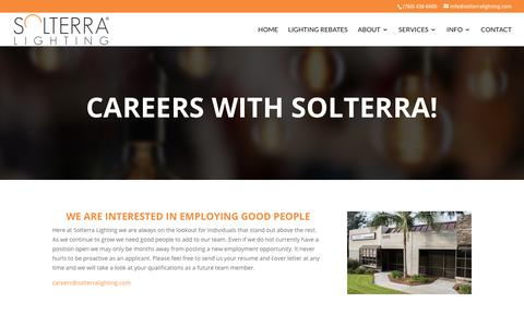 Screenshot of Jobs Page solterralighting.com - Careers | Solterra Lighting - captured Sept. 20, 2018