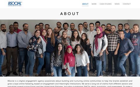 Screenshot of About Page bsocial-eg.com - About - BSocial - Digital Engagement Agency - captured Nov. 13, 2018