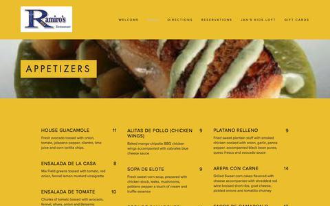 Screenshot of Menu Page ramiros954.com - Appetizers — Ramiro's 954 - captured Oct. 19, 2017