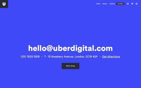 Screenshot of Contact Page uberdigital.com - Uber Digital   Contact Us - captured April 2, 2018