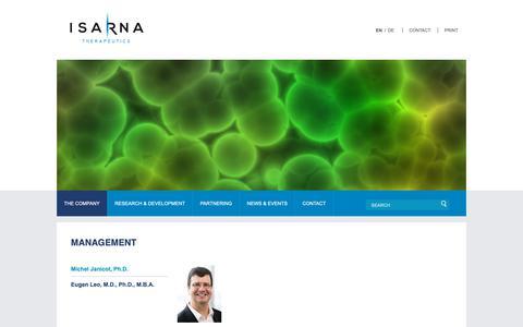 Screenshot of Team Page isarna-therapeutics.com - Michel Janicot, Ph.D. | Isarna Therapeutics - captured Oct. 19, 2018