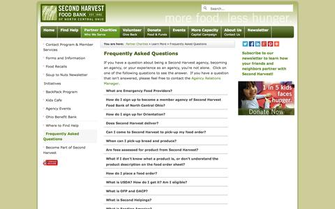 Screenshot of FAQ Page secondharvestfoodbank.org - Frequently Asked Questions - agencies - Second Harvest Food Bank of North Central Ohio - captured Oct. 6, 2014