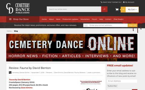 Screenshot of Blog cemeterydance.com - Cemetery Dance Online - Free Horror Reads, News, Interviews, Comics, and More! - captured Nov. 8, 2018