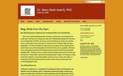 Screenshot of Blog writeonmba.com - Dr. Mary Beth Averill – Academic and Writing Coach » Write On MBA - captured Feb. 4, 2016