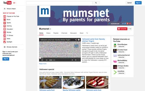 Screenshot of YouTube Page youtube.com - Mumsnet  - YouTube - captured Oct. 29, 2014