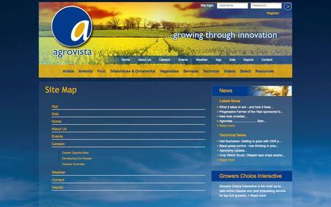 Screenshot of Site Map Page agrovista.co.uk - Agrovista UK -Site Map - captured Oct. 4, 2014