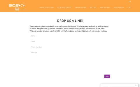Screenshot of Contact Page boskyoptics.com - Drop Us A Line! – Bosky Optics - captured Oct. 10, 2017