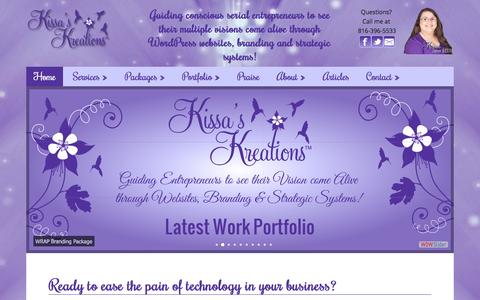 Screenshot of Home Page kissaskreations.com - Kissa's Kreations - Guiding conscious serial entrepreneurs to see their multiple visions come alive! - captured Jan. 9, 2016