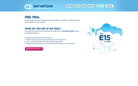 Screenshot of Trial Page serverlove.com - Free Cloud Hosting Trial, UK | serverlove - captured Oct. 9, 2014