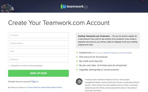 Screenshot of Signup Page teamwork.com - Sign Up for Teamwork Project Manager - captured Oct. 2, 2015