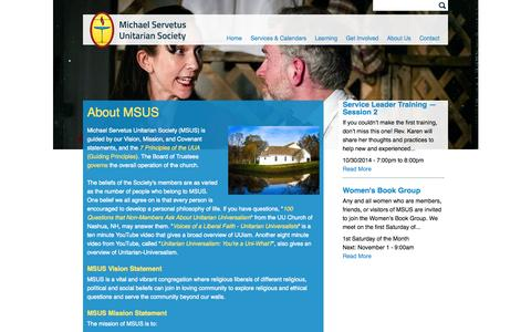 Screenshot of About Page msuu.org - About MSUS | Michael Servetus Unitarian Society - captured Oct. 27, 2014
