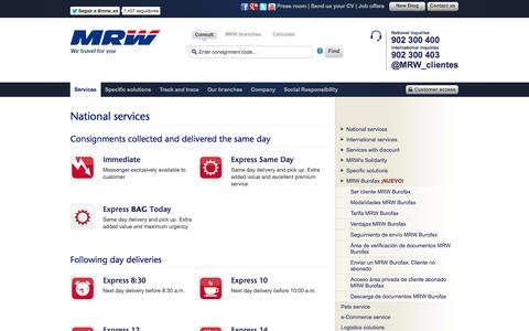 Screenshot of Services Page mrw-transporte.com - MRW - National services - captured Sept. 18, 2014