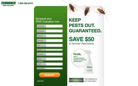 Screenshot of Landing Page terminix.com - Terminix Keeps Pests Out. Guaranteed. - captured Feb. 28, 2016