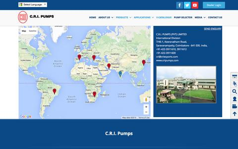 Screenshot of Contact Page crigroups.com - Pump Manufacturer| Valves Manufacturer | Suppliers - CRI Groups 	Coimbatore, India - captured March 1, 2016