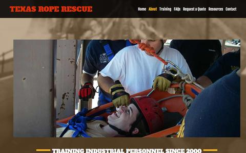 Screenshot of About Page texasroperescue.com - Rescue Training | Texas Rope Rescue - captured Aug. 13, 2016