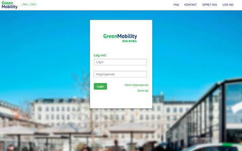 Screenshot of Login Page greenmobility.com - Log ind - GM-DKCPH - captured July 6, 2018