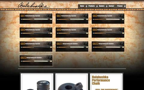 Screenshot of Products Page balabushkacues.com - Products | Balabushka Cues | Manufacturer of George Balabushka, ADAM and Richard Helmstetter Billiard Cues for the Discriminating Player - captured Oct. 5, 2014