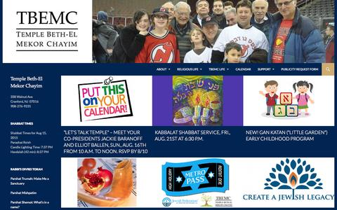 Screenshot of Home Page tbemc.org - TBEMC | Temple Beth-El Mekor Chayim | Conservative Temple of Cranford & Westfield NJ - captured Aug. 15, 2015