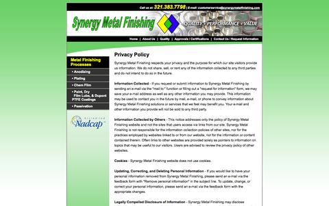 Screenshot of Privacy Page synergymetalfinishing.com - Privacy Policy: Contact Technichrome, FL - captured Oct. 6, 2014