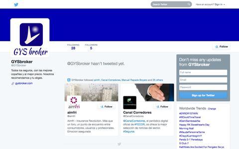 Screenshot of Twitter Page twitter.com - GYSbroker (@GYSbroker)   Twitter - captured Oct. 22, 2014
