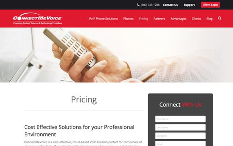 Screenshot of Pricing Page connectmevoice.com - Pricing | ConnectMeVoice - captured July 20, 2018