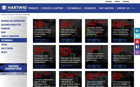Screenshot of Testimonials Page hartwiginc.com - Testimonials - Hartwig - captured July 16, 2018