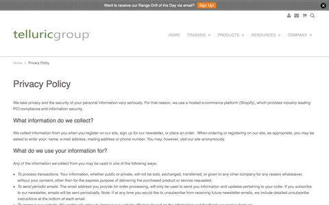Screenshot of Privacy Page telluricgroup.com - Privacy Policy | Telluric Group, LLC - captured Feb. 28, 2016