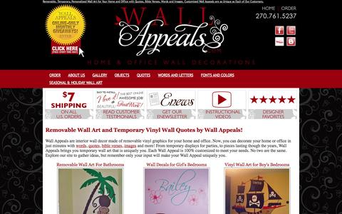 Screenshot of Home Page wallappeals.com - Removable vinyl wall stickers and temporary temporary wall art and vinyl graphic tattoos from Wall Appeals, the newest trend in home and office decor! These removable vinyl wall art decals and stickers can be used on almost any smooth and flat surfac - captured Jan. 29, 2015