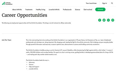 Screenshot of Jobs Page arthritis.org - Elevate Your Career To A New Level. Work For a Progressive Nonprofit. - captured Jan. 11, 2020