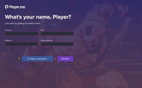 Screenshot of Signup Page player.me - Wizard! | Player.me - captured Nov. 7, 2016