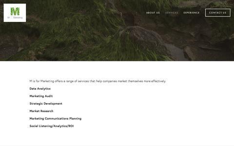 Screenshot of Services Page marketsmarter.biz - Services — M is for Marketing - captured Nov. 17, 2016