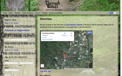 Screenshot of Maps & Directions Page throughwoods.com - Directions | Through the Woods Natural Health - captured Nov. 5, 2014