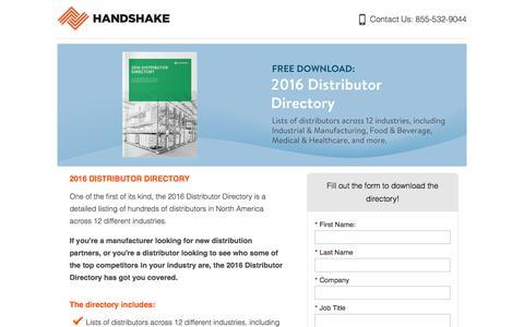 Screenshot of Landing Page handshake.com captured Jan. 2, 2017