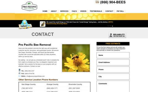 Screenshot of Contact Page propacificbee.com - Contact Now - Pro Pacific Bee Removal - Schedule Today - captured Sept. 29, 2018
