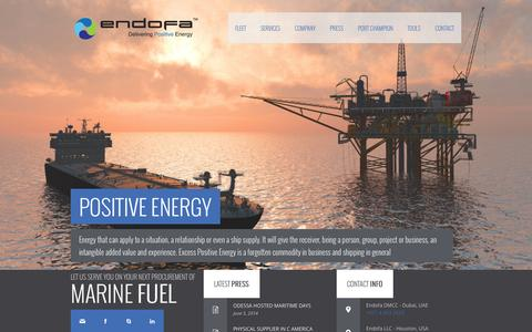 Screenshot of Home Page endofa.com - Endofa - Fueling the international shipping market - captured Sept. 30, 2014