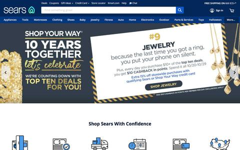 Screenshot of Home Page sears.com - Sears - captured Oct. 11, 2019